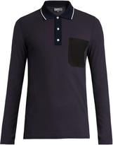 Lanvin Patch-pocket ribbed-cotton polo shirt
