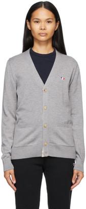 MAISON KITSUNÉ Grey Tricolor Fox Patch Classic Cardigan