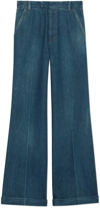 Gucci Marble washed denim flare trousers