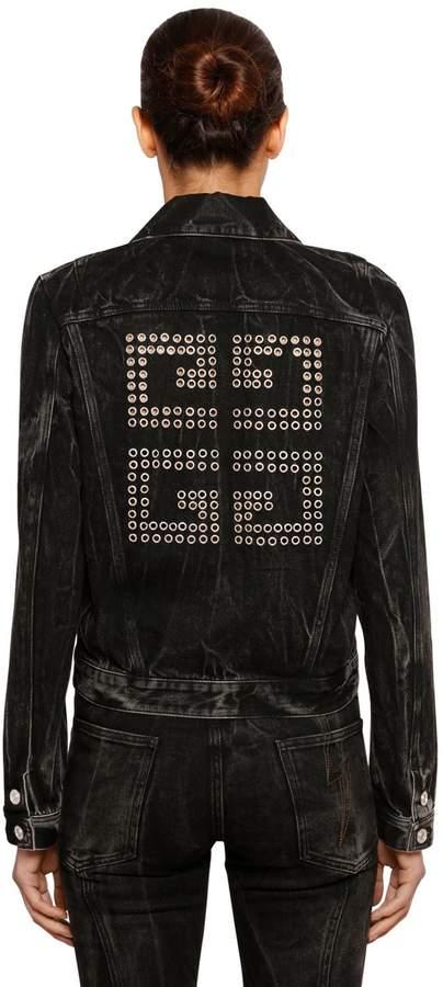 Givenchy 4g Eyelets Washed Cotton Denim Jacket