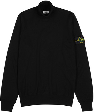Stone Island Black roll-neck wool jumper