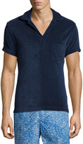 Orlebar Brown Terry Towel Short-Sleeve Polo Shirt, Navy