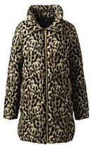 Lands' End Women's Plus Size Cheetah Down Coat-Brown Animal Print