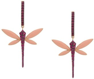 Anapsara 18kt rose gold Dragonfly ruby earrings