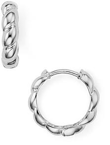 Argentovivo Rope-Effect Huggie Hoop Earrings in 14K Gold-Plated Sterling Silver or Sterling Silver