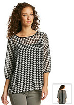 Amy Byer Sheer Geometric Print Top With Plain Cami