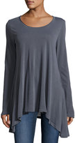 Splendid Long-Sleeve Asymmetric-Hem Tunic, Lead