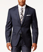 Bar III Men's Slim-Fit Navy and Tan Windowpane Jacket, Only at Macy's