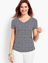 Talbots Small Blossoms Ruched V-Neck Tee