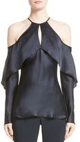 Cushnie et Ochs Women's Florence Silk Charmeuse Cold Shoulder Top