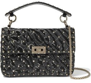 Valentino Garavani Rockstud Spike Bead-embellished Quilted Cracked-leather Shoulder Bag