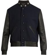 Saint Laurent Leather-sleeved wool-blend bomber jacket