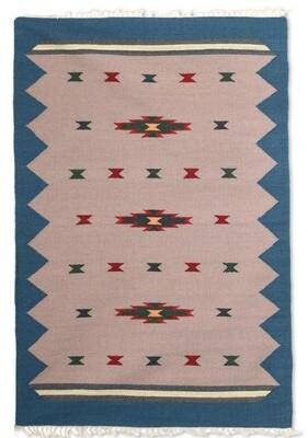Union Rustic Parkhurst Azure Melody Handmade Dhurrie Wool Beige/Green Area Rug