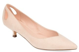 Brinley Co. Womens Heel Cut-out Kitten Heel Pump
