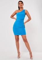 Missguided Blue One Shoulder Slinky Mini Dress