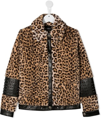 John Richmond Junior TEEN faux fur leopard print jacket with stud detailing