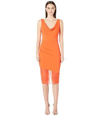 Cushnie Sleeveless Pencil Dress with Front Cowl and Chiffon