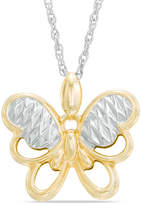 Zales Diamond-Cut Butterfly Pendant in 10K Two-Tone Gold