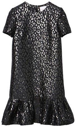 Carolina Herrera Metallic Leopard-Jacquard Ruffle-Hem Dress