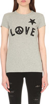 Love Moschino Sequin-embroidered love cotton-jersey t-shirt