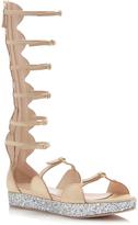 Giambattista Valli Glitter Flatform Gladiator Sandal in Nude
