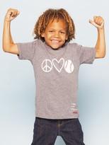 Peace Love World I am Ballin Baseball Athletic Grey Youth Tri-Blend Short Sleeve Tee