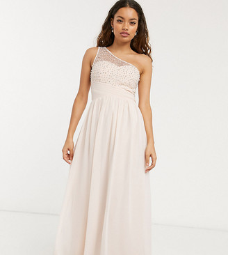 Little Mistress Petite one shoulder maxi dress with embellishment in blush