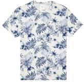 Burton Mens Ecru And Navy Leaf All Over Print T-Shirt
