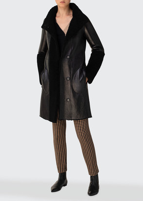 Akris Punto Reversible Lamb Leather and Shearling Patchwork Coat