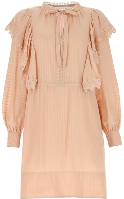 See by Chloe Tie-Neck Mini Dress