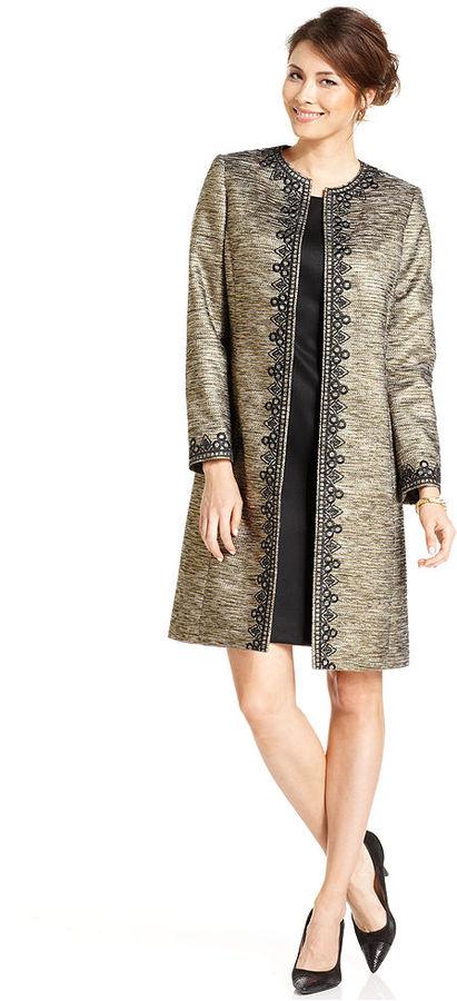 Kasper Suit, Collarless Embroidered Tweed Coat & Sheath Dress