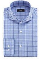 HUGO BOSS Dwayne Slim-Fit Plaid Dress Shirt, Blue/White