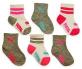 Puma Girls 6-Pack Sport Lifestyle Socks in Grey/Pink