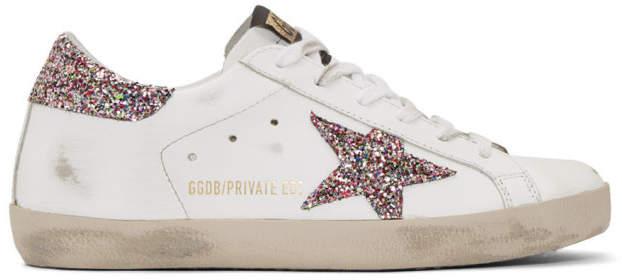 Golden Goose SSENSE Exclusive White Glitter Superstar Sneakers