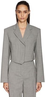 Sportmax Cropped Houndstooth Gabardine Jacket