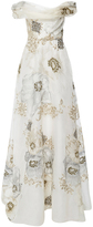 Marchesa Off The Shoulder Soft Draped A-Line Gown