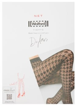 Wolford Dylan Houndstooth Net Tights - Black