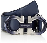 Salvatore Ferragamo Men's Dégradé Double Gancini-Buckle Leather Belt-NAVY