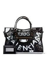 Balenciaga Classic City AJ Small Graffiti Satchel Bag, Black (Noir)