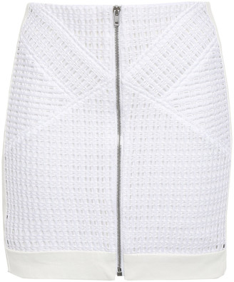 IRO Paneled Leather And Open-knit Mini Skirt