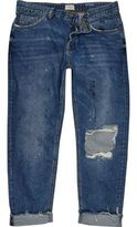 River Island MensBlue wash ripped Dean straight jeans