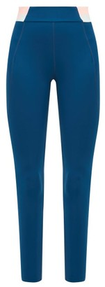LNDR Spar Striped-waist Cropped Leggings - Womens - Blue
