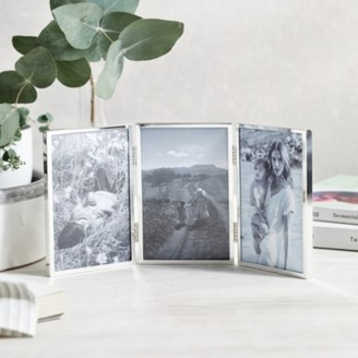 "The White Company Triple Aperture Hinged Fine Silver Photo Frame 4x6"", Silver, One Size"