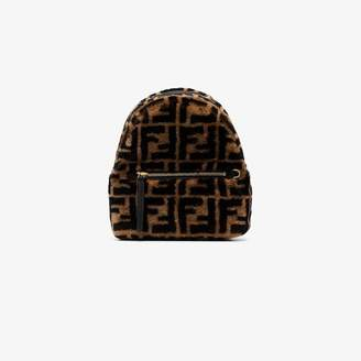 Fendi brown FF shearling backpack