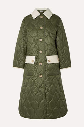 Barbour Alexachung Annie Corduroy-trimmed Quilted Shell Coat - Army green