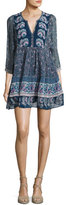 Joie Emlen Floral-Print Silk Peasant Dress, Blue