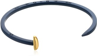 Giles & Brother Giles and Brother Navy Rubberized Tiny Railroad Spike Cuff with Gold Finished Nail Head Cuff Bracelet