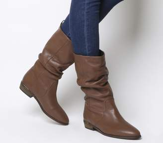 Office Kimbo Calf Boots Tan Leather With Heel Clip