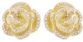 Effy Jewelry Effy 14K Yellow Gold Diamond Accented Flower Earrings, 0.45 TCW