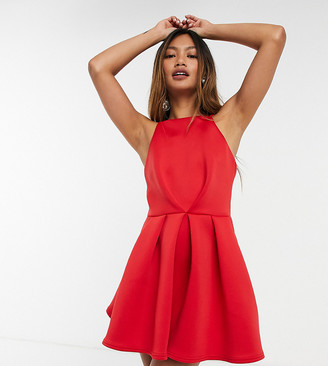 True Violet exclusive backless skater mini dress in red